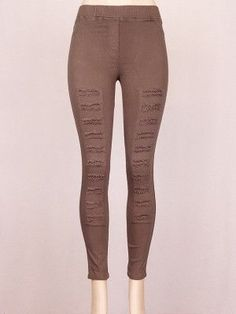 Solid Jean Leggings with Distressed Detail