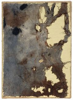 Alberto Burri - Pagina - Stoffa, oro e olio su carta applicata su tela - cm. 25,9x18,6 - Asta Asta di Arte Moderna - II - Casa d'aste Farsettiarte