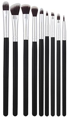 1e1441fcba BS-MALL(TM) Premium Synthetic Cosmetics Eye Shadow Eyeliner Makeup Brushes  Sets Pcs Silver Black)     Discover this special product