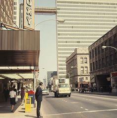 1967 view of Peachtree Street, in the area and time I had my first full-time job. (That might be me walking on the left...)