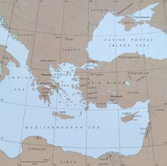 Ancient map of areas known in 21st century as (whole or part of) Greece, Macedonia, Albania, Croatia, Serbia, Bosnia, Italy, Ukraine, Russia, Turkey, Syria, Iraq, Iran, Lebanon, Israel, Egypt, (Palestinine), Jordan, Lybia