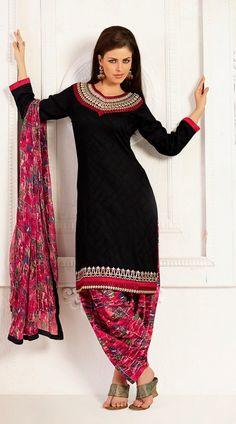 Neck Embroidered Black Cotton Patiala Salwar Kameez With Printed Dupatta Salwar Dress, Punjabi Dress, Patiala Salwar, Shalwar Kameez, Salwar Suits, Anarkali, Punjabi Suits, Pakistan Fashion, India Fashion