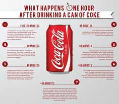 What a can of Coca-Cola REALLY does to your body: Infographic reveals the effects the fizzy drink has in just an hour... from a 20-minute blood sugar spike to the 'crash'