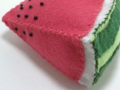 A ripe and juicy slice of watermelon fun! Bright pink and greens make this a must-have for your felt or pretend food collection!This listing is for 1 slice, handsewn from eco-fi felt, polyfil and glass beads. Felt and filling made from recycled pl. Sushi Plush, Alien Plush, Pirate Eye Patches, Felt Play Food, Pretend Food, Fruit Slice, Handmade Felt, Felt Crafts, Pin Cushions
