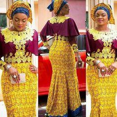 Aso Ebi Styles :Ankara Long Gown http://www.dezangozone.com/2016/05/aso-ebi-styles-ankara-long-gown.html