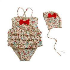 Vintage Inspired Girls Clothes Vindie Baby Floral Style Swimsuit Vintage Inspired One Piece Bathing Suit | Vindie Baby
