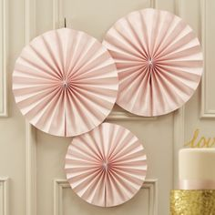 Shop our pastel wedding theme for beautiful pastel pink and gold wedding decorations, stationery and accessories. Pinwheel Decorations, Paper Fan Decorations, Pink Party Decorations, Baby Shower Decorations, Homemade Party Decorations, Just Married Girlande, Decoration Communion, Deco Pastel, Pastel Decor