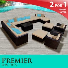 """Premier Outdoor Wicker 16 Piece Patio Set Sand Covers -16C by TK Classics. $2987.00. Affordable and comfortable Modular Furniture allows for endless arrangement possibilities. Fully Assembled - ready to relax and enjoy. 4"""" Welted cushions for a luxurious look and feel. """"No Sag"""" solid wicker bottoms with extra flexible strapping providing long-lasting suspension. Versatile design for ANY patio size. 2 for 1 Special: Purchase 1 of our Classic Patio Sets and receive a 2nd set of cus..."""