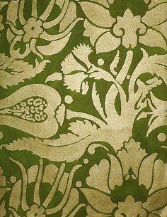 FORTUNY Melagrana Green Silver Long Staple Cotton Venice Italy New