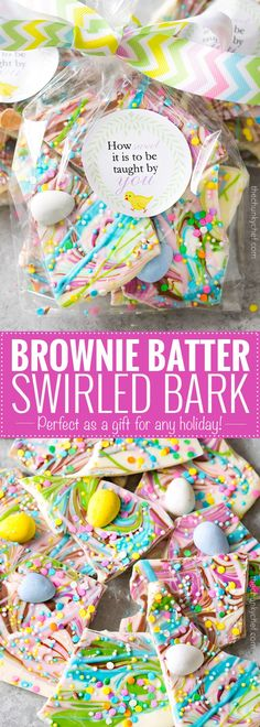 Brownie Batter White Chocolate Bark   A fun no bake bark dessert, made with white chocolate swirled together with milk chocolate brownie batter, and decorated in fun Spring colors! Easily customizable to any holiday and makes a great homemade gift!   http://thechunkychef.com
