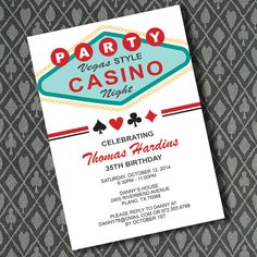 Vegas Casino Night Invitation Template 1