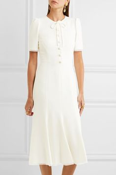 Dolce & Gabbana - Bow-embellished Cady Midi Dress - White - IT46