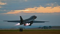 A B-1 bomber rumbles down the flightline at Ellsworth Air Force Base, S.D., July 24, 2012 as part of a training mission. Each of the B-1's four engines is capable of producing 30,000-plus pounds of thrust.