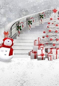 Christmas Tree Photography Backdrops Snowman Gift Box White Photo Studio Background Frozen Snow Backdrop for Children Snowy Christmas Tree, Christmas Stairs, Christmas Tree Background, Christmas Tree With Gifts, Christmas Pictures, White Christmas, Christmas Room, Christmas 2017, Christmas Greetings