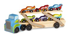 This giant hauler comes stocked with six unique cars and unlimited play possibilities! Lower the upper deck to let the fleet of racecars roll off of the truck and race around—kids will be building m...