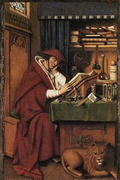 St. Jerome in his Study, 1432 - Jan van Eyck Jan Van Eyck, St Jerome, Hans Holbein The Younger, National Gallery, Hieronymus Bosch, Archangel Michael, Art Database, Messina, Equine Art