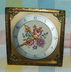 VINTAGE PETIT POINT FACE FILIGREE DRESSING TABLE CLOCK WORKS RETRO in Collectables, Clocks | eBay