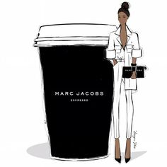 "Megan Hess on Instagram: ""Monday coffee. All the cool kids are wearing and drinking MARC JACOBS Espressos today!"""