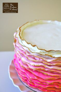 Pink Gold Ruffle Ombre cake