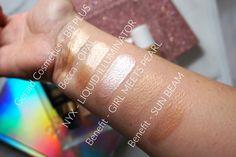 liquid highlighters liquid illuminators gerard cosmetics bb plus,becca opal liquid, nyx sun beam, benefit girl meets pearl and benefit sun beam