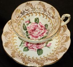 4:00 Tea...EB Foley...Pink and White Roses with Wide Gold Teacup and Saucer