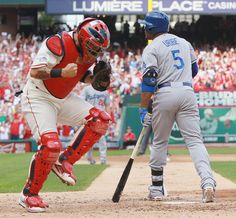 St. Louis Cardinals catcher Yadier Molina reacts after Los Angeles Dodgers' Juan Uribe struck out with the bases loaded to end the top of th...