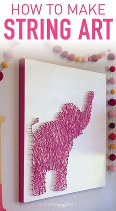 Looking for some cheap nursery decor? This elephant string art tutorial is too cute and so EASY!