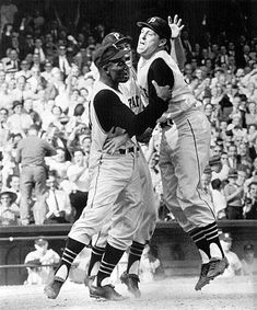 1960 World Series: Catcher Hal Smith after Game seven homer vs. the Yankees. Pittsburgh won the game on a walk-off home run by Bill Mazeroski, winning the Series Pittsburgh Pirates Baseball, Baseball Star, Pittsburgh Sports, Baseball Cards, 1960 World Series, World Series Game 7, Series 4, Mlb Players, Baseball Players