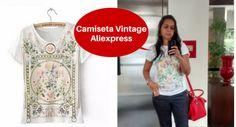 Look Camiseta Vintage do Aliexpress. Confira no post mais fotos, opinião tamanho e link do vendedor. Camiseta com malha de algodão, super recomendo!