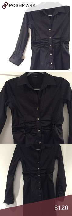 Theory dress Black collared Theory button down dress with ruching in the mid section. Knee length. Worn once. Great for work outfits. Theory Dresses Midi