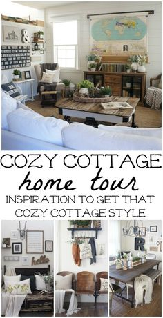Cozy Cottage Home tour - Come tour this lovely cozy cottage filled with neutral & rustic home decor with vintage pieces. A must see & a must pin for future farmhouse style & cottage style home decor projects! Modern Vintage Homes, Vintage Home Decor, Cozy Cottage, Cozy House, Etsy Vintage, Cosy Interior, Interior Design, Décor Antique, Cottage Style Homes