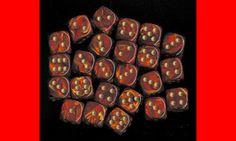 6  12MM CHX27814 SCARLET RED W/GOLD D6 DICE WARHAMMER 40K NECROMUNDA #Chessex