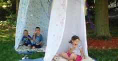 Fort made from hula-hoop and shower curtain, just hook the rings on the hoop!! | garden kids | Pinterest | Showers, Curtains and Hooks