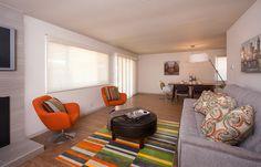 Modern Living Room, gray, orange and green color scheme