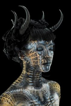 We love this awesome look! We teach similar scary Special FX Makeup!  Special FX Dark Alien Avant Garde Makeup!  Visit www.AstuteArtistryStudio.com or call (248) 477-5548 for more information about Astute Artistry and the Center For Film Studies in Farmington Hills, MI!