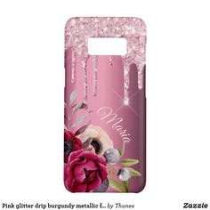 Shop Pink glitter drip burgundy metallic florals name Case-Mate samsung galaxy case created by Thunes. Samsung Galaxy, Galaxy S8, Samsung Cases, Iphone Cases, Tablet Cases, Glitter Phone Cases, Drip Painting, Animal Skulls, Rose Gold Color