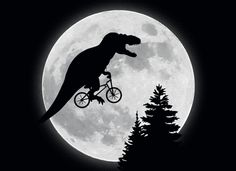 featured a T-Rex instead, you'd get this. T-Rex riding bike past the moon. Jurassic World Dinosaurs, Jurassic Park World, Funny Kids Shirts, Funny Hoodies, Dinosaur Funny, Dinosaur Quotes, Cool Graphic Tees, Funny Animals, Fantasy Art