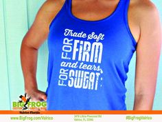 Custom fitness shirt. At Big Frog we can put what inspires you on your shirt... everything we do is custom made just for you! Contact us at DesignersValrico@BigFrog.com to get started! #DTG #Embroidery #Spangle #ScreenPrint #Vinyl #Sublimation Fitness Shirts, Workout Shirts, Custom Printed Shirts, What Inspires You, Get Started, Screen Printing, Just For You, Embroidery