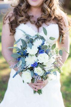 Bride Portrait Bouquet White Blue Assorted Mixed Arrangement | Lakeside-Pavilion-Wedding-Photographer-Chico-Wedding-Photography-TréCreative