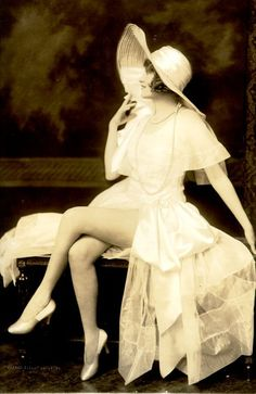 Ziegfeld Follies Star Ruth Etting 1923 - in spring white dress, heels & floppy hat - crossed legs & proper stance #spring style