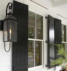 Beautiful black shutters at Sugarberry Cottage at Habersham, SC