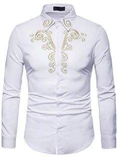 Men's Floral Shirt Basic Long Sleeve Daily Slim Tops Standing Collar White Black Wine / Spring / Work 2021 - Can $34.14 Casual Shirts For Men, Men Casual, Men Shirts, Shirt Men, Long Sleeve Tops, Long Sleeve Shirts, Shirt Embroidery, Gold Embroidery, Embroidery Design