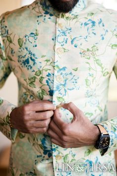 Floral sherwani in pastel colours for grooms on wedding day! | WedMeGood|#wedmegood #floral #pastelsherwani #floralsherwani #groomswear #grooms