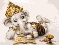 PINN Cross Stitch : Young Ganesha Cross Stitch Kits on Religion category Baby Ganesha, Ganesha Art, Ganesha Pictures, Ganesh Images, Indian Gods, Indian Art, Shiva, Krishna, Sri Ganesh