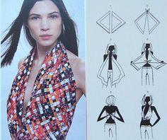 Techniques et conseils mode pour mettre, nouer et porter un foulard en bustier, et le transformer en top ou d'une robe autour du buste avec foulard carré.