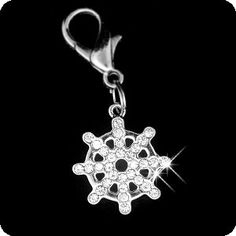 PURELY CHARMING Pet Charm / Pendant with Handset Swarovski Crystals - Nautical Ship's Wheel ** Check out this great image  : Cat accessories