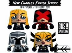 New Charles Xavier School Mini Paper Toys - by Gus Santome - == -  Here are Emma Frost, Cyclops, Magneto and Magik in nice paper toy versions created by designer Gus Santome, from Mini Papercraft website.