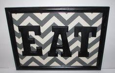 EAT Grey Chevron Kitchen Decor Framed in by EasilyEmbellished