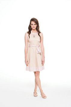 Two toned girly chic dress in light pink & cream