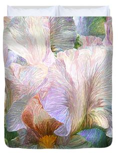 Iris Moods 3 decorator Duvet Cover featuring the art of Carol Cavalaris. Available for king, queen, full, and twin sizes, as well as matching pillow.